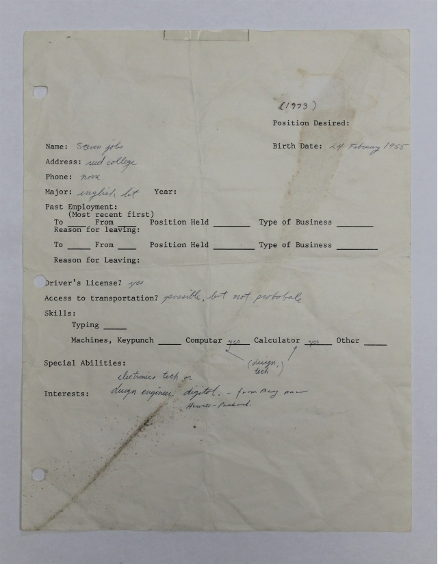 Apple founder's 1973 job application sold for £200,000 in recruitment firm liquidation