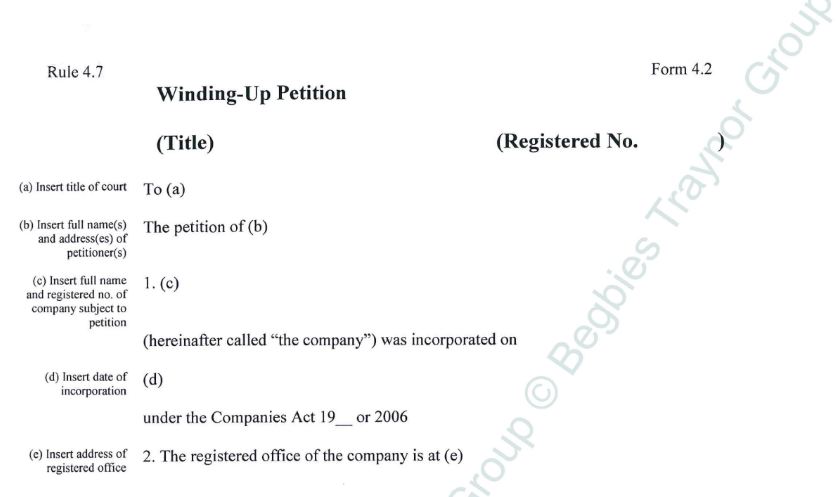 What Is A Registered Letter.Winding Up Petition Letter